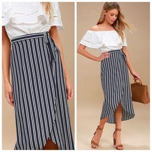 Lulus blue and white striped midi skirt